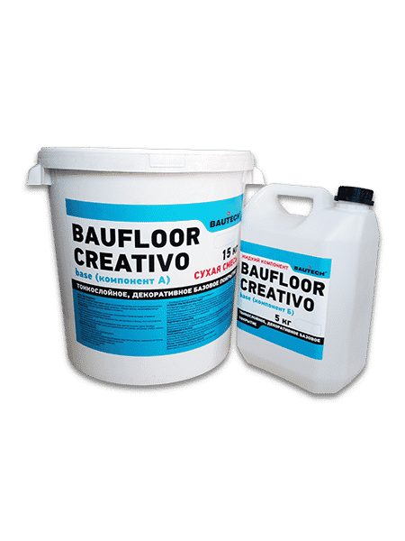 BAUFLOOR® CREATIVO представляет собой тонкослойную систему для создания эксклюзивных, декоративных полов и стен, содержащую полимеры, твёрдую крошку, высокоэффективные микроцементы и соответствующие примеси и пигменты.  Для изготовления креативных, эстетичных тонкослойных полов на новых, а также на отремонтированных бетонных основаниях.  Для изготовления декоративных покрытий стен, декоративного бетона, плит гипсокартона, мебели, дерева и тд.  Для использования во влажных помещениях прим. ванные комнаты, кухни, басейны.  Для применения в квартирах, залах для презентаций, ресторанах, магазинах, клубах, офисах, общественных объектах